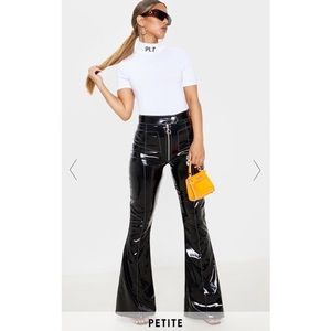 Petite Black Contrast Stitch Vinyl Flared Pants